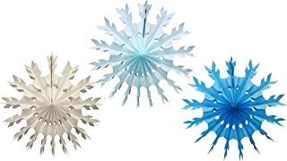 product image for Set of 3 Small 15 Inch Tissue Paper Snowflake Decorations (Winter Mix - White, Light Blue, Turquoise)