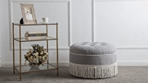 Jennifer Taylor Home Yolanda Ottoman, Light Grey
