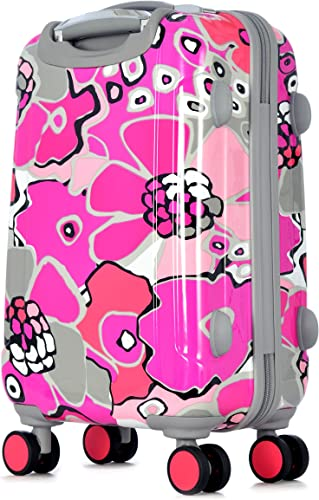 Olympia Blossom II 21-Inch Polycarbonate Carry-On Spinner with TSA Lock, Fuchsia, One Size