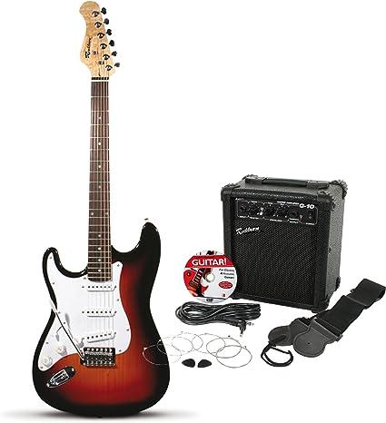 Rockburn ST eléctrica del estilo Guitarra zurda Pack - Sunburst: Amazon.es: Instrumentos musicales