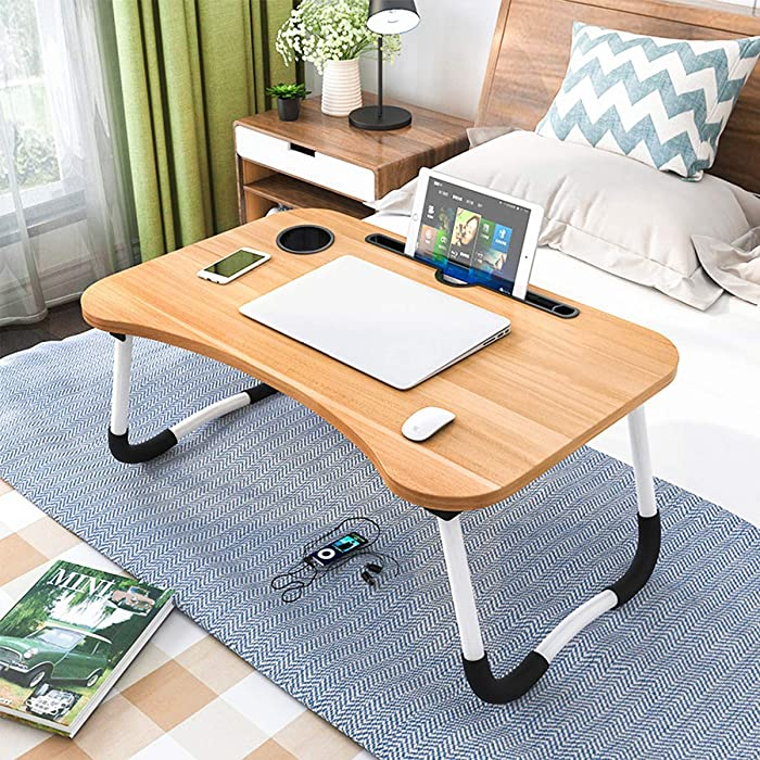 OPPIS Laptop Tray Bed Table, Lap Table for Breakfast Serving Tray, Notebook Table with Tablet Slots and Holder for Couch Floor for Adults/Students/Kids