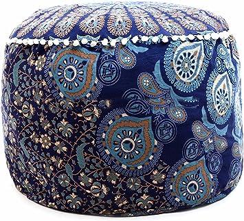 Hippie Green Star Mandala Round Floor Pillow Indian Cushion Cover Handmade Pouffe Ottomans Cushion Floor Pillow Ethnic Bedroom Decorative