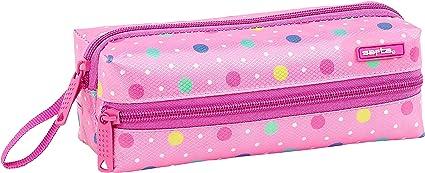 Safta Estuche Escolar Safta Dots Pink Oficial 200x80x70mm: Amazon.es: Oficina y papelería