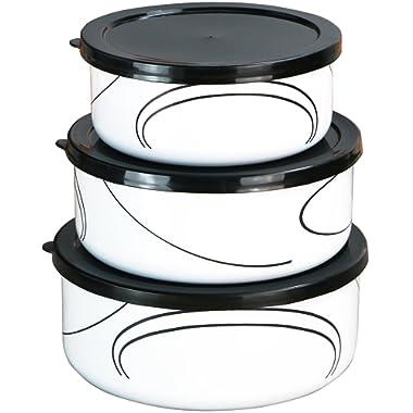 Corelle Coordinates by Reston Lloyd 6-Piece Enamel on Steel Bowl/Storage Set, Simple Lines