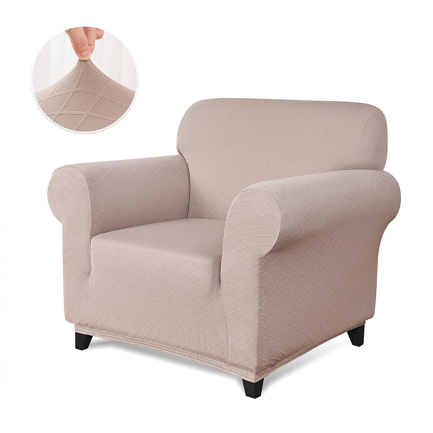 Chair Chocolate Chun Yi 1 Piece Stretch Polyester And Spandex Rhombus Jacquard Sofa Armchair Slipcovers Durable
