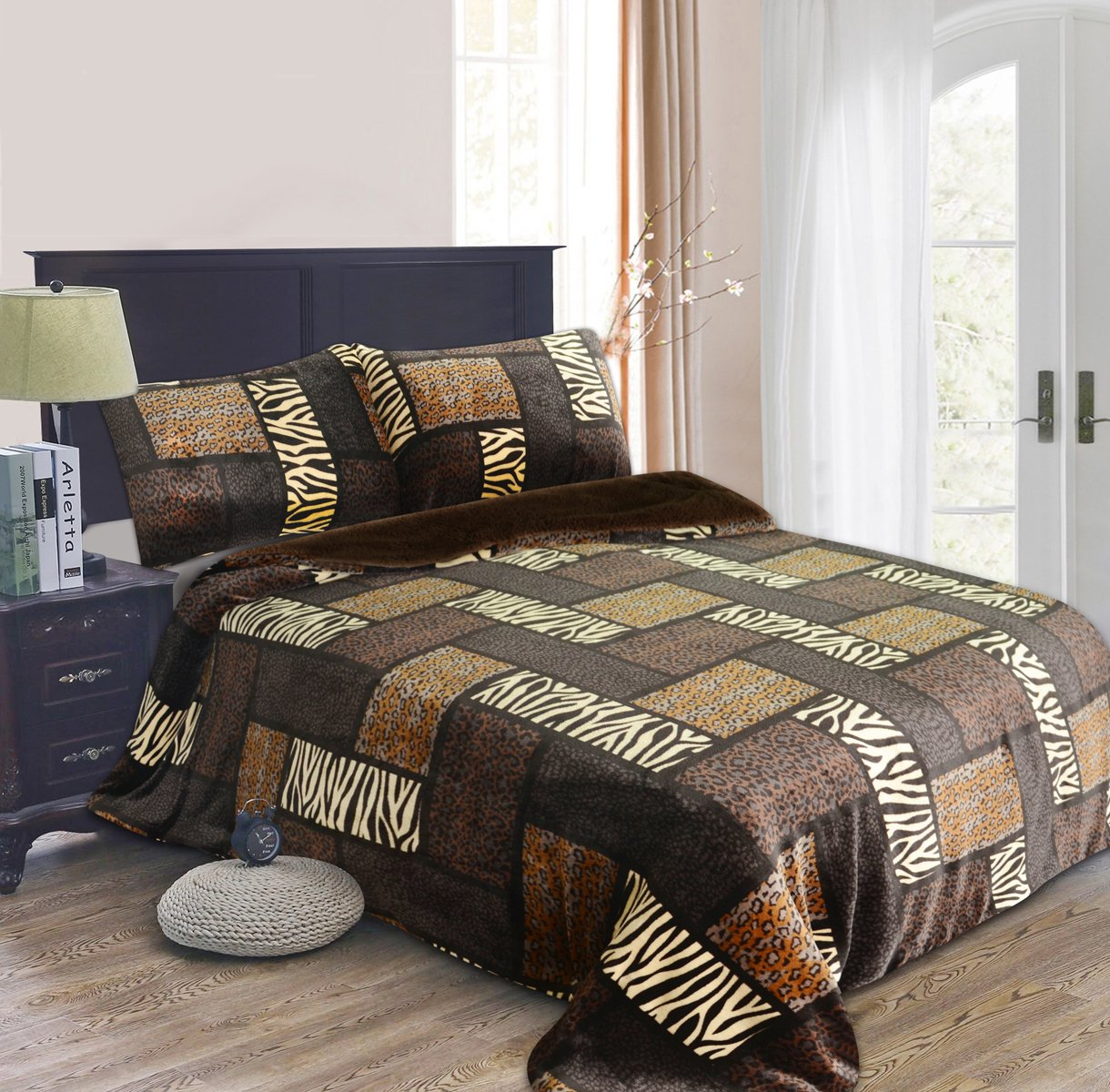 All American Collection New 3pc Borrego/ Sherpa Blanket Queen/ King Size Animal Print
