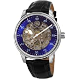 Akribos Automatic Mechanical Men's Watch - Unique Time Reading Hour Window & Long Minute Hand On Skeletonized Dial with…