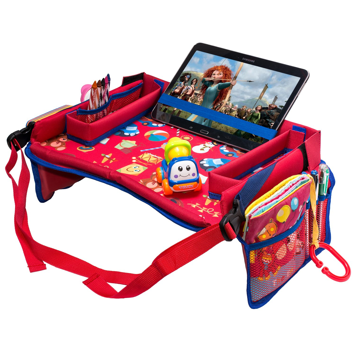 DMoose Toddler Car Seat Travel Tray Strong Buckles Mesh Pockets Reinforced Surface Waterproof Sturdy Base /& Side Walls 16 x 14 Tablet Holder Toy Organizer Crayon Organizer