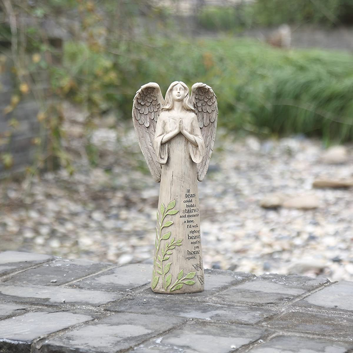 "CEDAR HOME Garden Statuary Praying Angel Outdoor Resin Sculptures Collectible Figurines 14"" H"