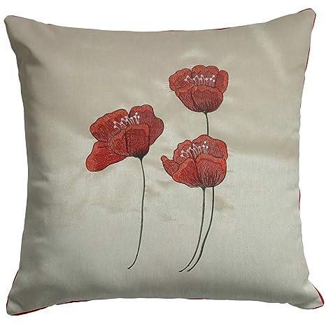 Amazon.com: Graceful Poppy rojo y crema seda sintética ...