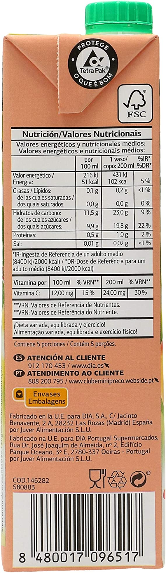 DIA - Zumo Melocotón Manzana Uva Envase 1 Lt: Amazon.es: Alimentación y bebidas