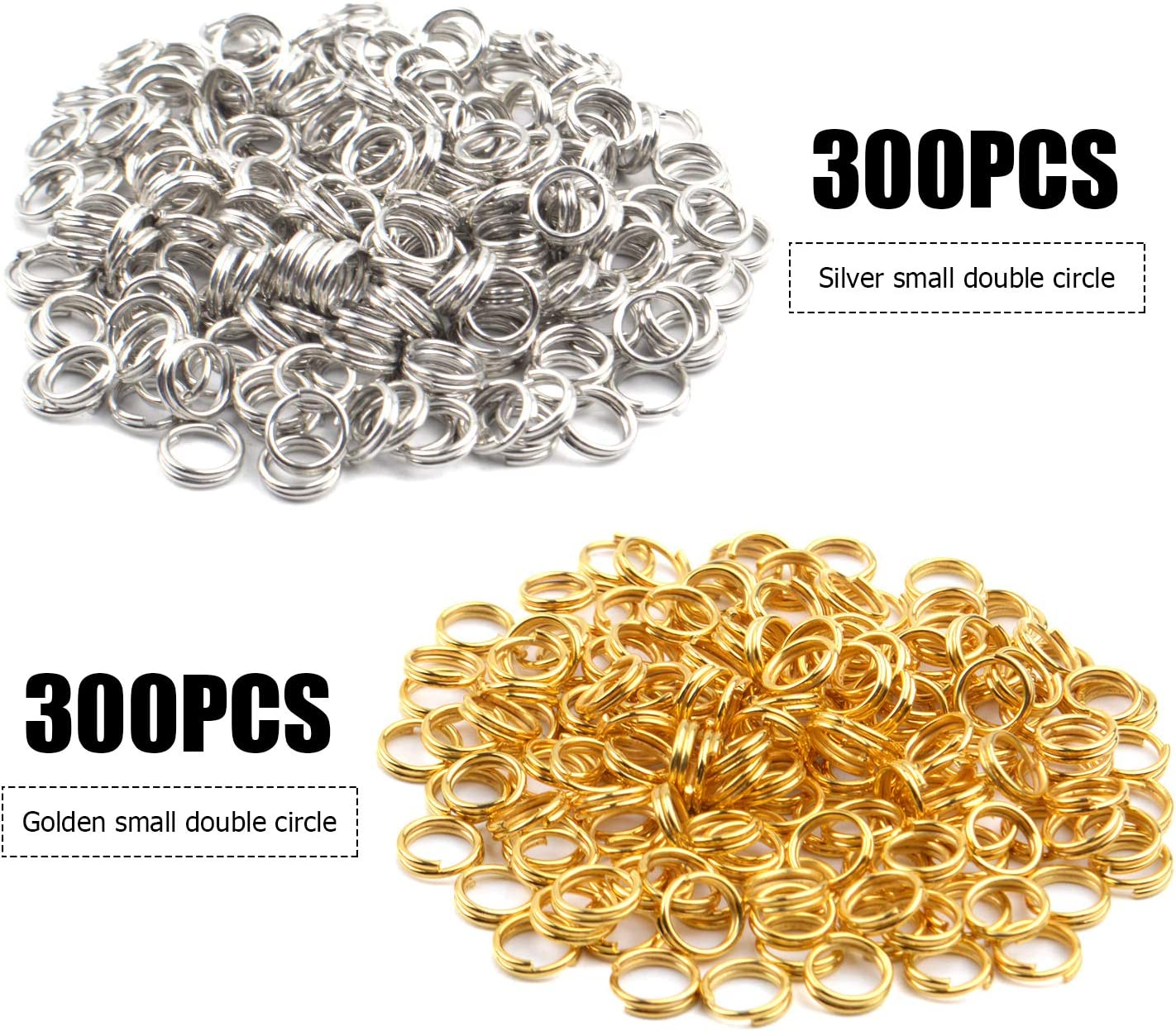 6 mm 600 Pcs Gold Plated Jump Rings Split Rings Circle Clasp Connecting Rings Jewelry Necklace Bracelet Pendant Choker Charm Loops DIY Craft Earring Making Supplies