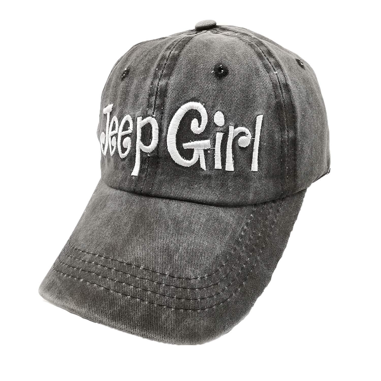 Waldeal Embroidered Jep Girl Vintage Adjustable Washed Baseball Caps for Women Black