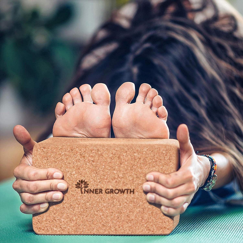 certificato FDA privo di sostanze nocive Yoga Block 2 misure ecologico Set da 1 // 2 pezzi locale in sughero per principianti e professionisti pilates Inner Growth Yogablock sughero blocco in sughero per meditazione