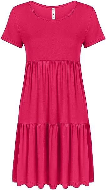 fb740ed036 Simlu Fuchsia Summer Dress Hot Pink Jersey Dress Plus Size a Line Short  Sleeve Dress Fuchsia