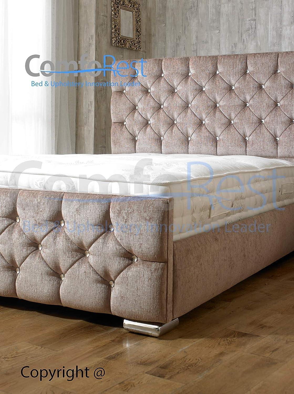 iBEX BED FRAME 3FT Single BLACK LEATHER in Crushed Velvet or Upholstered Storage Bed Frame Mfr UK