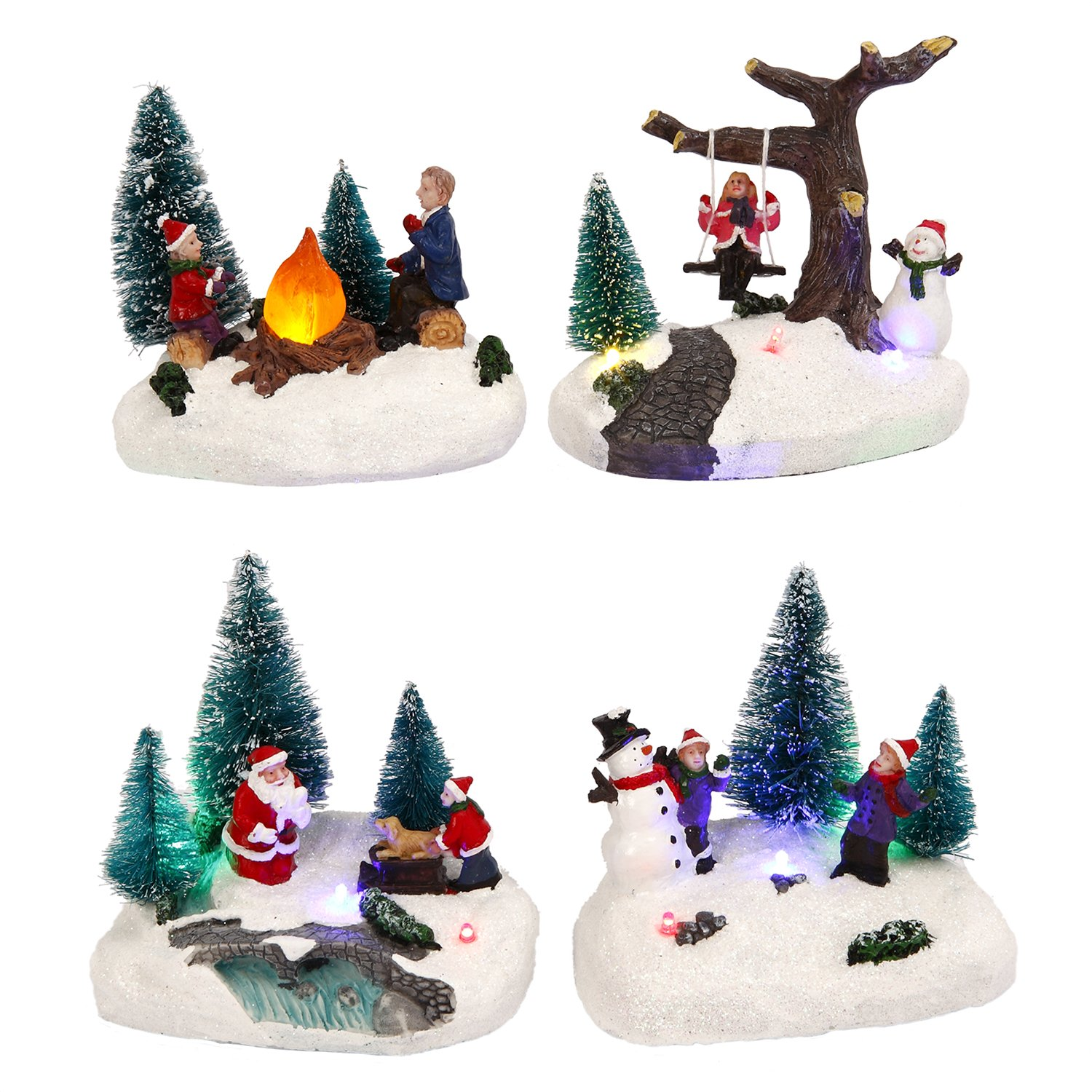 Gerson Set of 4 Light Up Holiday Winter Snow Village Town Christmas Scenes Figure Decor