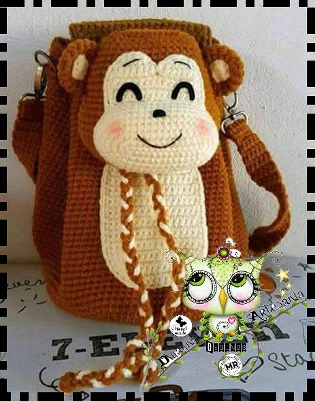Mochila MONO PERSONALIZABLE (Bebé, crochet, ganchillo, muñeco, peluche, niño, niña, lana, mujer, hombre) MODA: Amazon.es: Handmade