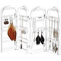Relaxdays, klar smyckehållare av akryl, vikbart smyckestativ, för örhängen, kedjor, 4 fack, HBT 28 x 10,5 x 8 cm