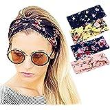 Ever Fairy® 4 Stück Damen elastische Blume gedruckt Stirnband ,Frauen Baumwolle gestrickte Verdrehte weiche Turban-Kopf-Verpackungs für Yoga oder Mode