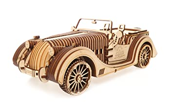 amazon 木製3dパズルキットmechanical roadster carモデルwith rubber