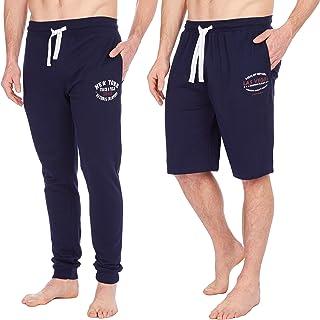 Metzuyan Men Sleep Pants Shorts Set Nightwear Lounge Cotton