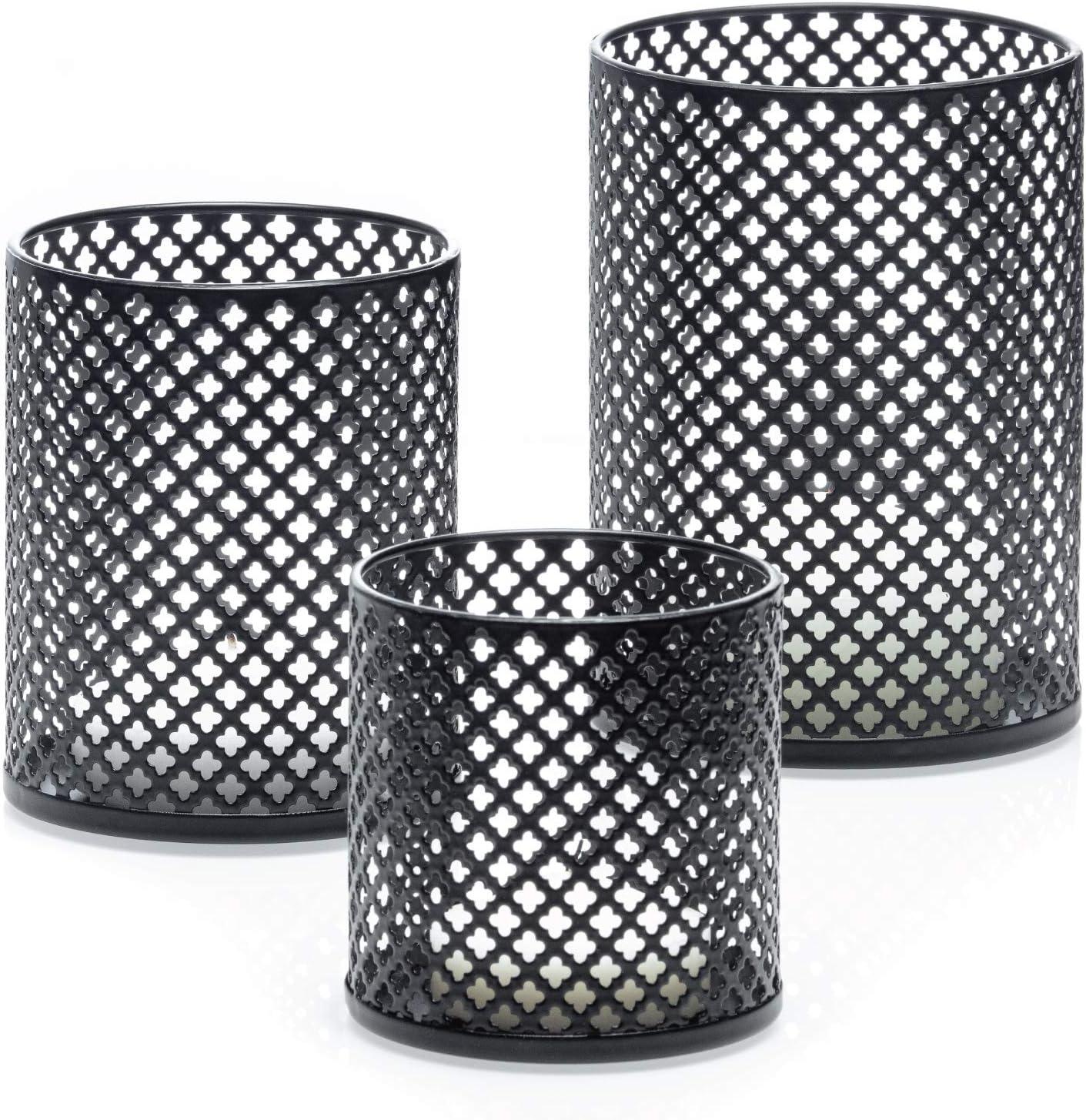 Velas Decorativas Candle Holder Centerpiece for Table Complementary 3 Votive Candles Home Decor Accents Elegant Matte Black Finish Decorative Metal Candle Holders Set of 3