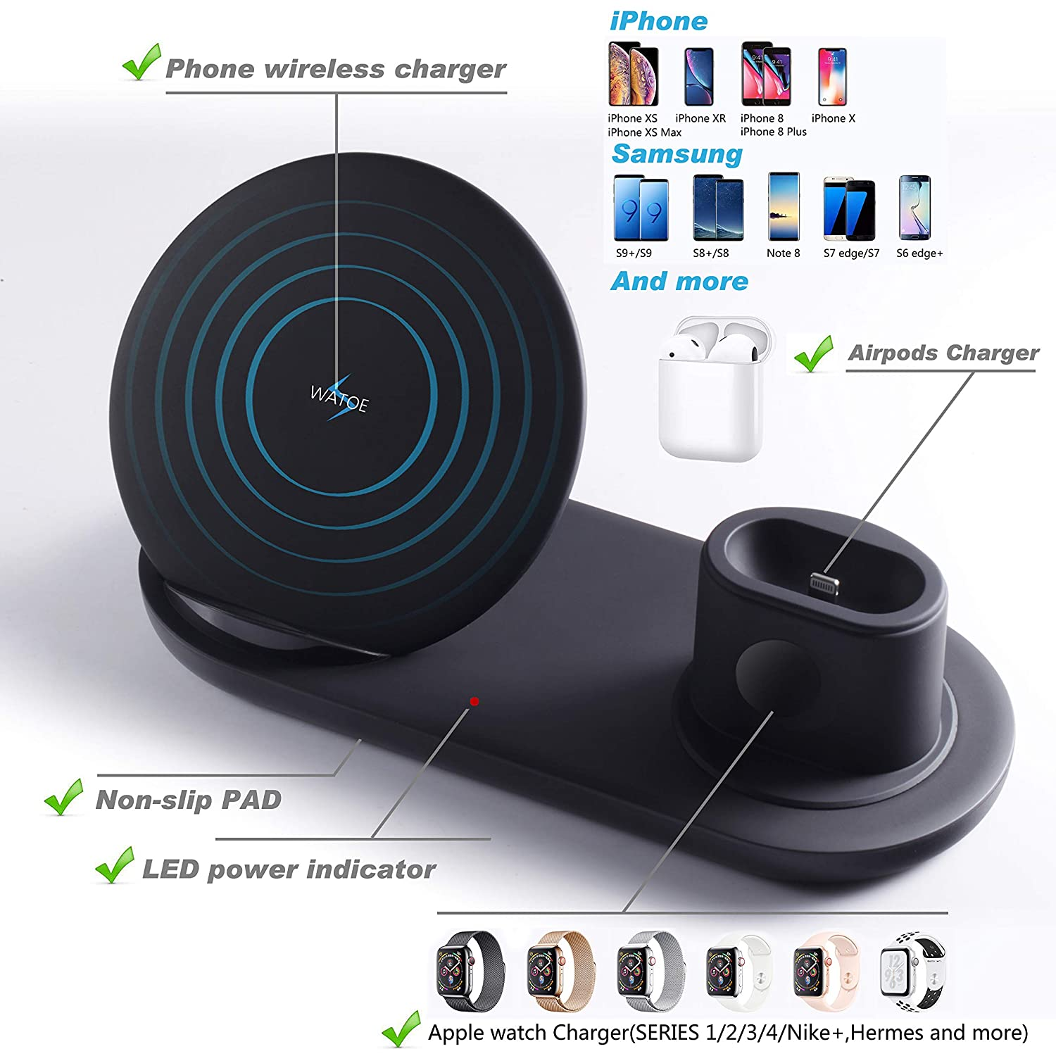 Wireless Charger, 3 in 1 Wireless Charging Stand for Apple Watch and Airpods,Qi Fast Wireless Charging Station Compatible iPhone X/XS/XR/Xs Max/8/8 ...