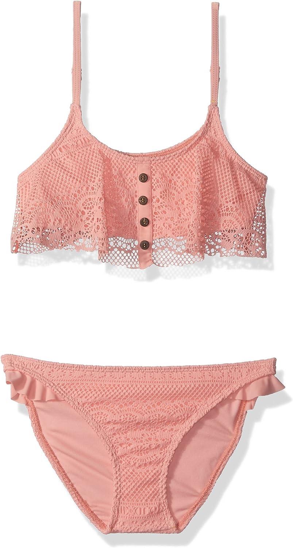 ROXY Girls Big Faded Sun Flutter Top Swimsuit Set
