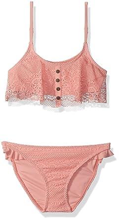1f50ea2e5458c Roxy Big Girls' Faded Sun Flutter Top Swimsuit Set, Peaches N Cream, ...