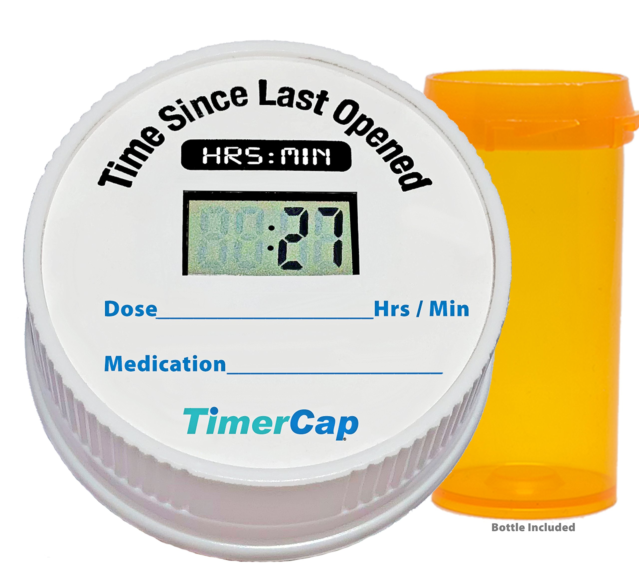 TimerCap Pill Organizer Bottle Cap Automatically Records Built-in Stopwatch   Medicine Planner (4 Pack, Standard)
