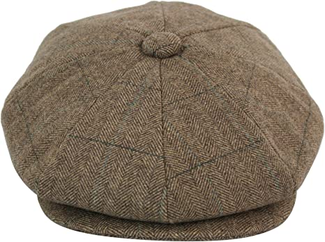 Mens Tweed Newsboy Cap Peaky Blinders Baker Boys Flat Check Beret Hat Gatsby Cap