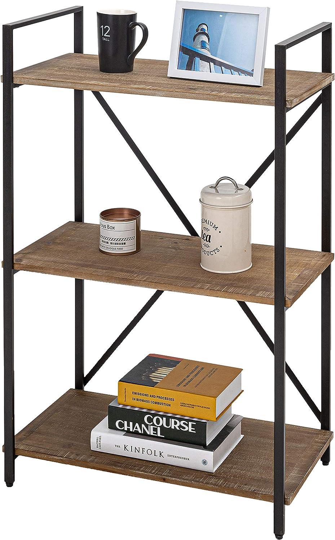 "Three Shelf Bookcase Bookshelf 3 Tier Storage Rack Shelf for Office, Bathroom, Living Room(37"" H)"