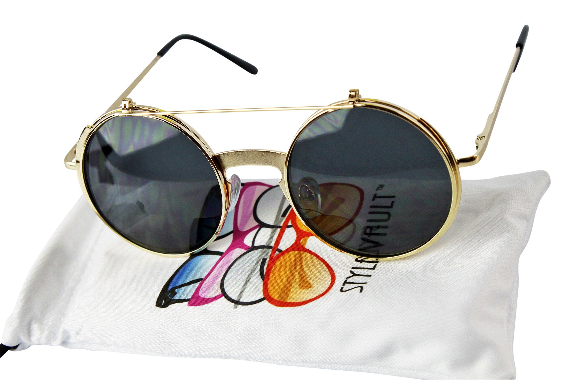 V135-vp Style Vault Round Flip up Django Steampunk Metal Sunglasses (C064 Gold, uv400)
