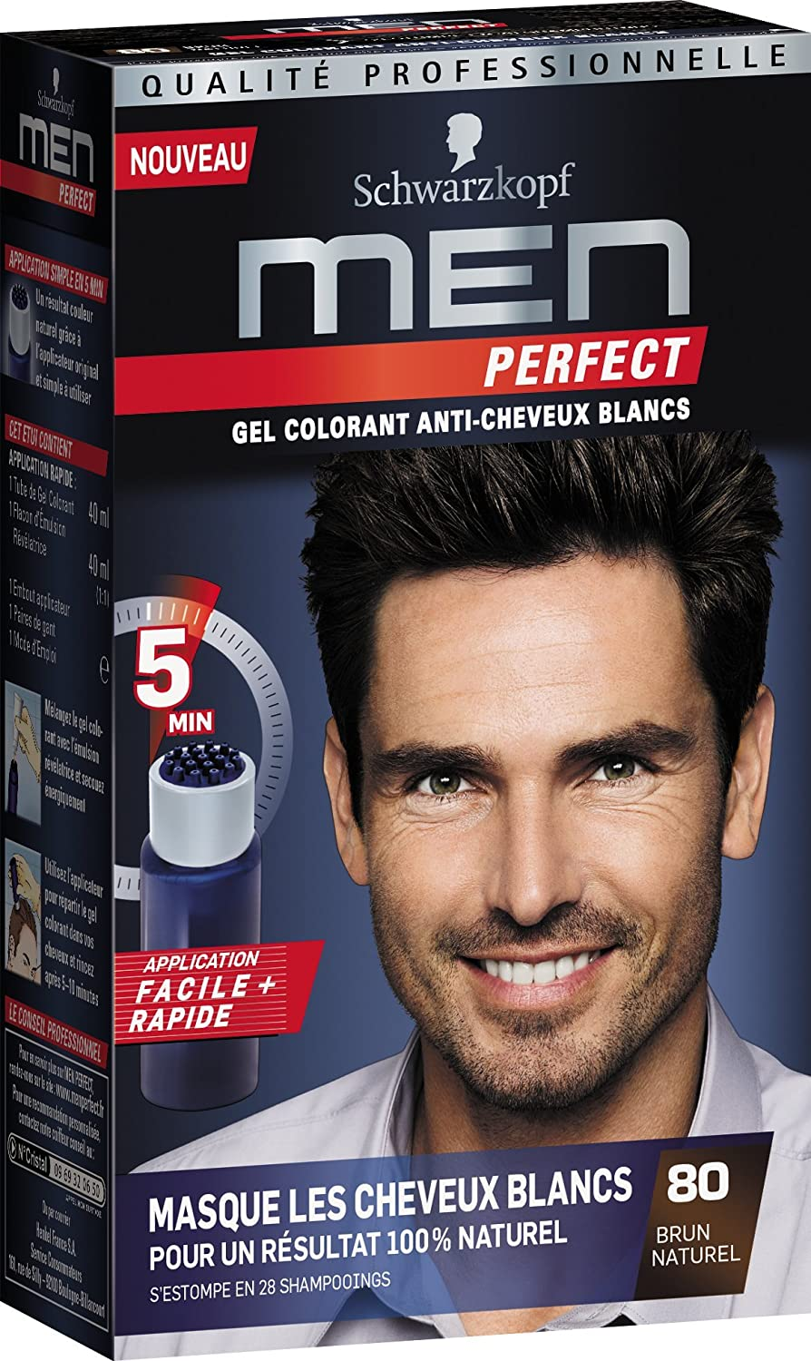 schwarzkopf men perfect gel colorant anti cheveux blancs brun naturel 80 amazonfr hygine et soins du corps - Gel Colorant Cheveux Homme