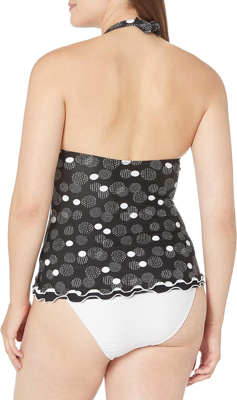 Profile by Gottex Womens Lettuce Ruffle Halter V-Neck Tankini Top Swimsuit Tankini Top