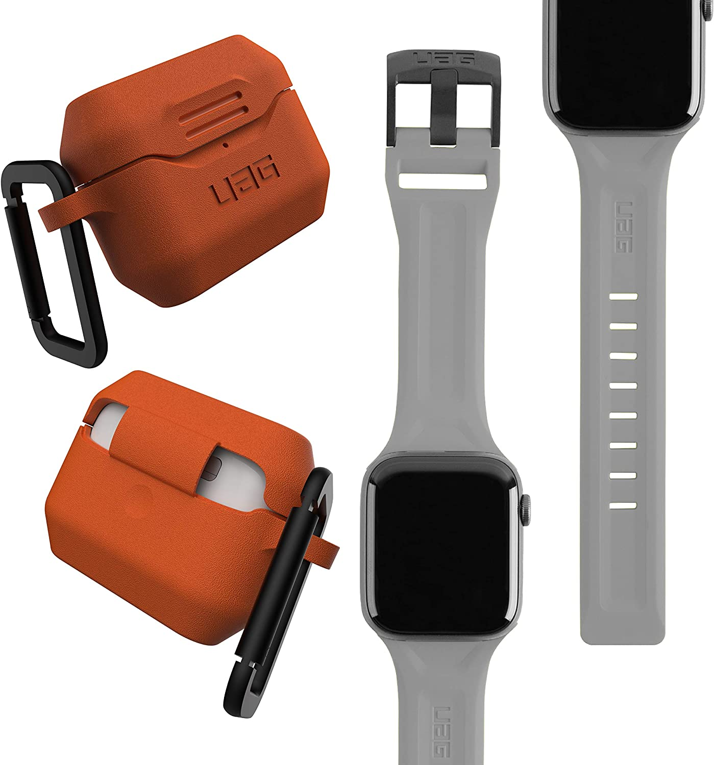 UAG Apple Watch Band 44mm 42mm, iWatch Series 6/5/4/Watch SE Replacement Strap, Scout Silver + AirPods Pro Case with Detachable Carabiner, Orange