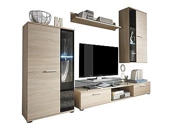 Trendteam Smart Living Wohnzimmer Anbauwand Wohnwand Salsa, 241 X 180 X 40  Cm In Eiche