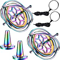 meekoo 2 Pack Metal Anti-Gravity Gyroscope Colorful Spinning Top Gyroscope Balance Toy Educational Gift