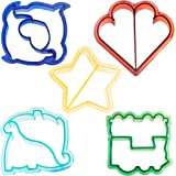 VonShef Fun Cookie Cake and Sandwich Cutter Shapes for Kids, Set of 5 Shapes Dinosaur, Dolphin, Heart, Star and Train, 5pc Set