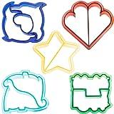 VonShef Fun Cake, Cookie & Sandwich Cutter Shapes for Kids - Set of 5: Dinosaur, Dolphin, Heart, Star & Train