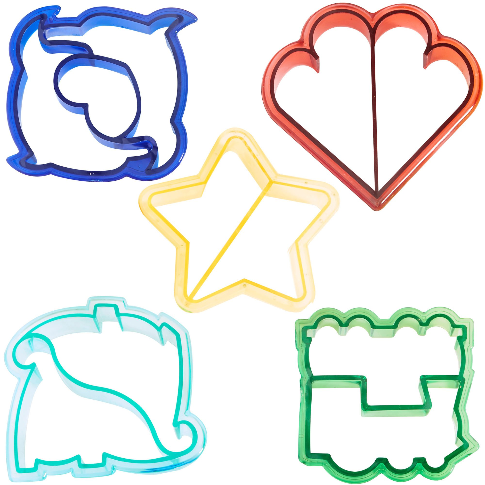 VonShef Fun Cookie Cake and Sandwich Cutter Shapes for Kids, Set of 5 Shapes Dinosaur, Dolphin, Heart, Star and Train, Multi Colored, 5pc by VonShef (Image #1)