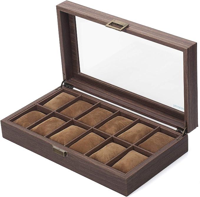 READAEER Caja para Relojes con 12 Compartimentos: Amazon.es: Relojes