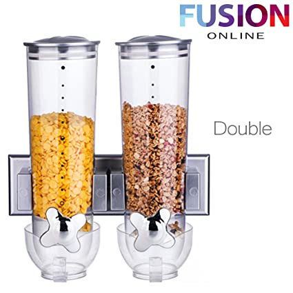 Doble Triple dispensador de cereales dispensador de recipiente de almacenamiento de alimentos secos Máquina Gris (
