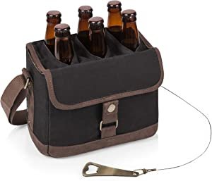 Legacy-A Picnic Time Brand 6-Bottle Beer Caddy with Integrated Bottle Opener, Black/Brown