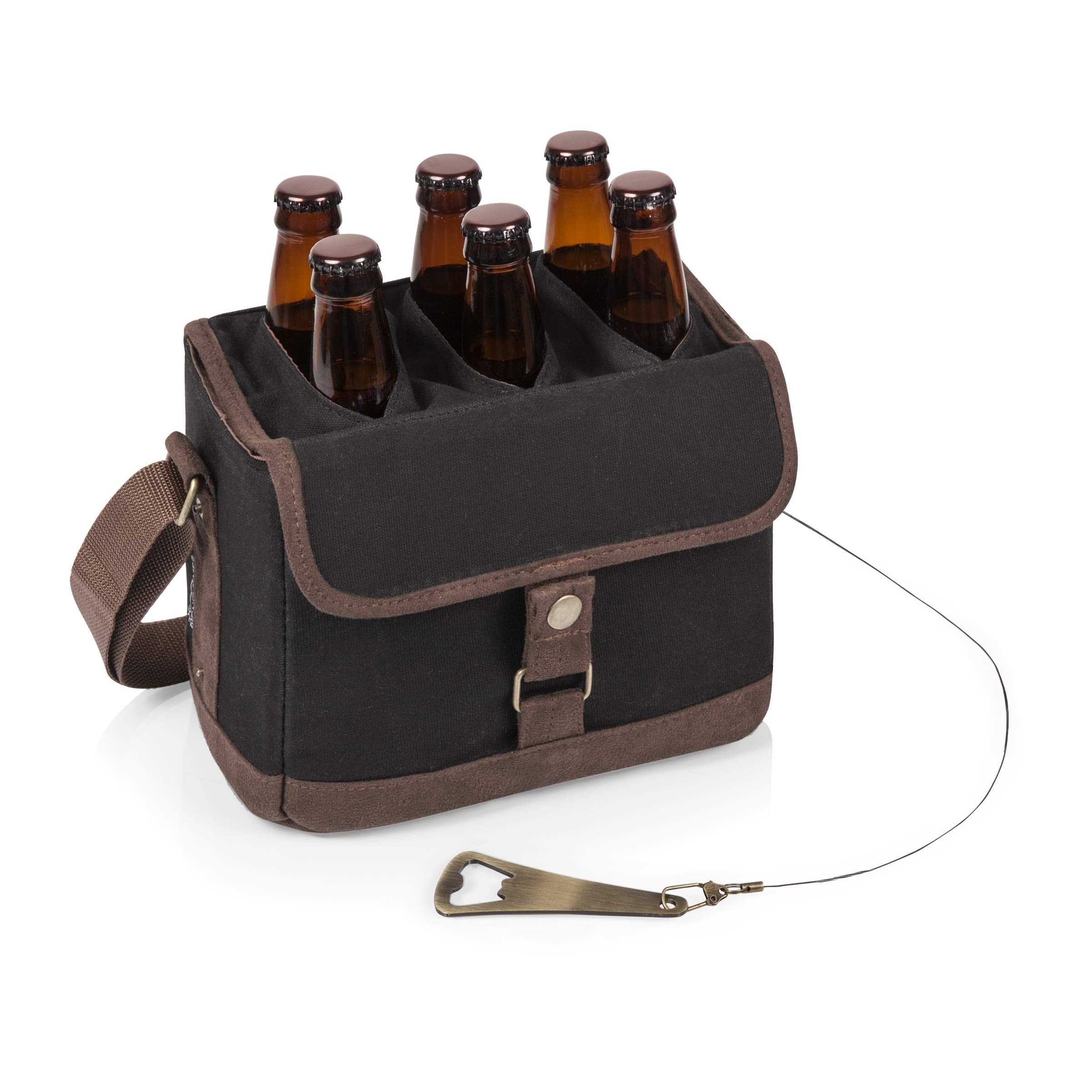 Legacy-A Picnic Time Brand 6-Bottle Beer Caddy with Integrated Bottle Opener, Black/Brown by LEGACY - a Picnic Time Brand (Image #1)