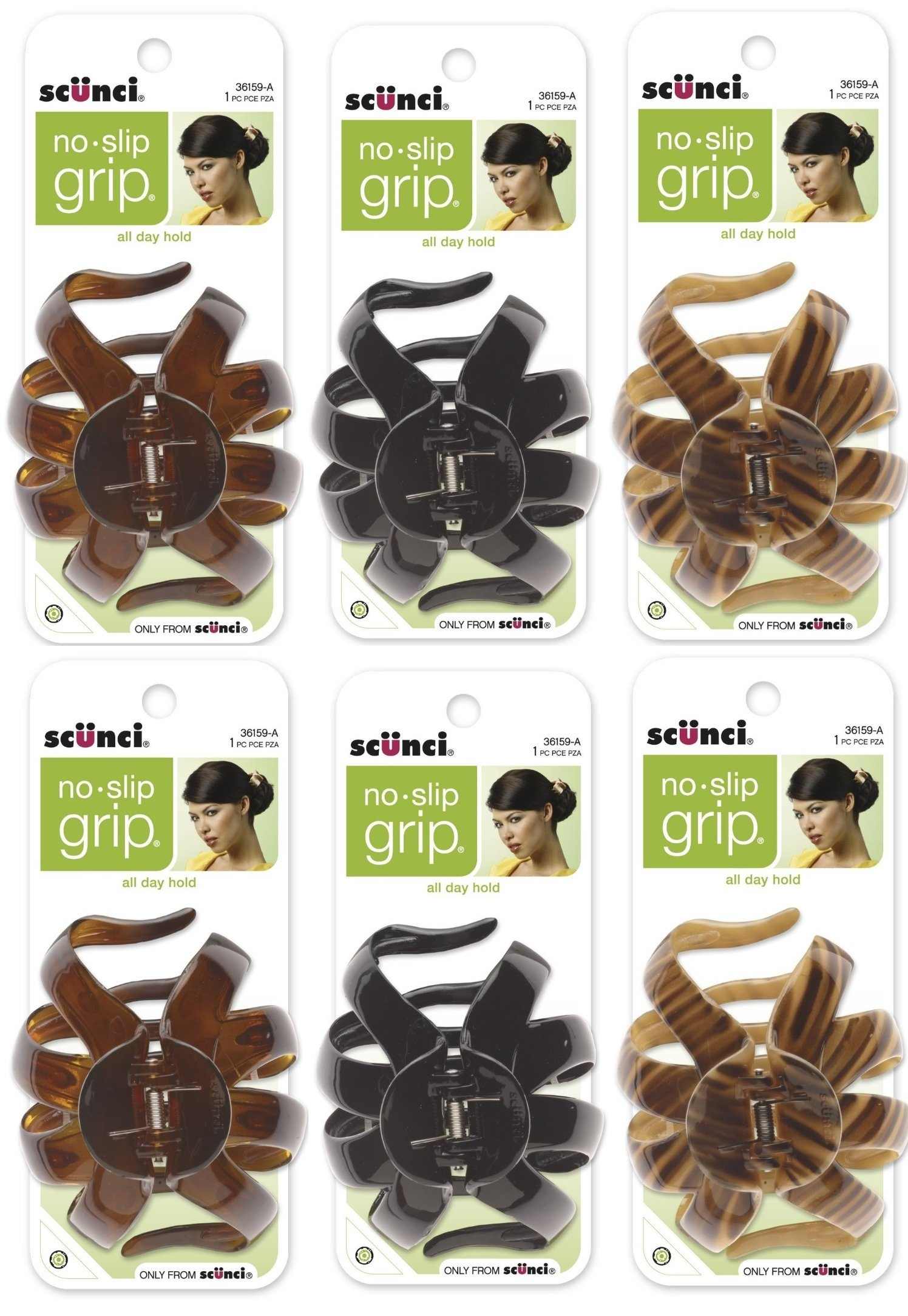 Scunci No-slip Grip Large Octopus Clip, 6-Count