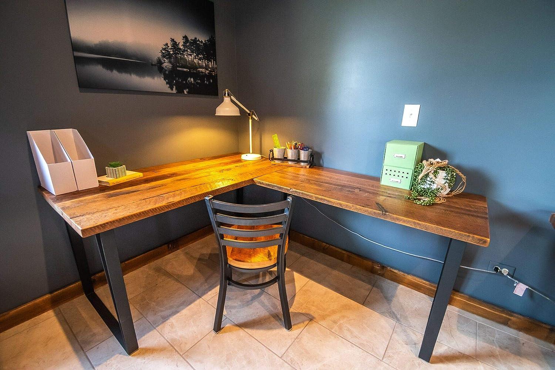 newest 0d163 cda41 Amazon.com: Desk, Wood L Shaped Office Desk, Reclaimed Wood ...