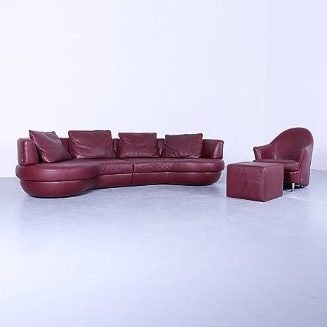 natuzzi Designer piel sofá rojo viersitzer sofá piel + ...