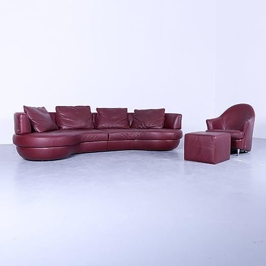 Divani In Pelle Natuzzi.Natuzzi Designer Divano In Pelle Garnitur Rosso Viersitzer Couch
